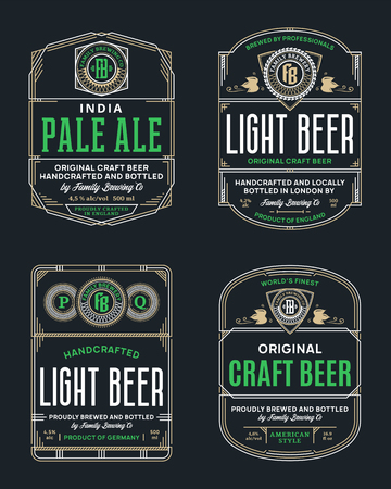 Vector vintage beer thin line labels and packaging design templates. Brewing company branding and identity design elements. Illustration