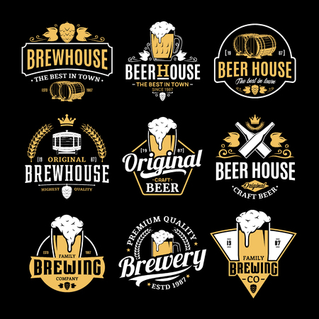 Vector white and yellow vintage beer logo isolated on black background for brew house, bar, pub, brewing company branding and identity. Ilustração
