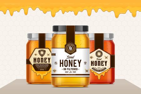 Barattoli di vetro miele con etichette per apiario e prodotti dell'apicoltura, branding e identità. Concetto di design dell'imballaggio del miele. Progettazione di etichette alimentari.