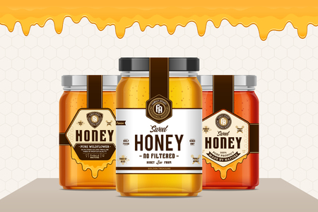 Honey glass jars with labels for apiary and beekeeping products, branding and identity. Honey packaging design concept. Food label design.