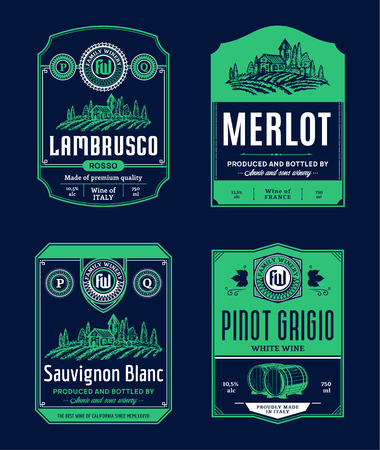 Vector vintage red and white wine labels. Winemaking business branding and identity design elements.