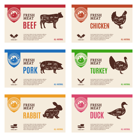 Vector butcher's shop modern style labels. American (US) cuts of beef, pork, rabbit, chicken, duck and turkey diagrams.