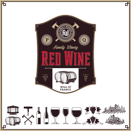 Vector vintage red wine label. Winemaking business branding and identity design elements.