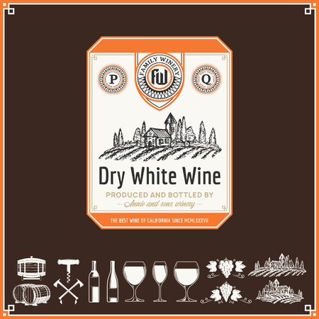 Vector vintage white wine label. Winemaking business branding and identity design elements.