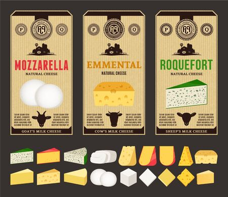 Vector cheese vintage labels and packaging design templates. Different types of cheese detailed icons. Dairy products illustration for dairies, farms and groceries branding. Cow, sheep and goat icons.