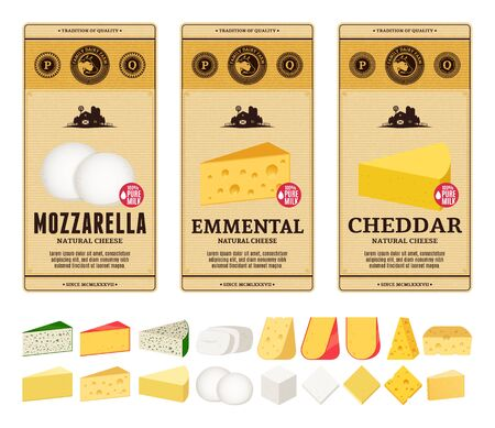 Vector cheese vintage labels and packaging design templates. Different types of cheese detailed icons. Dairy products illustration for dairies, farms and groceries branding. Иллюстрация