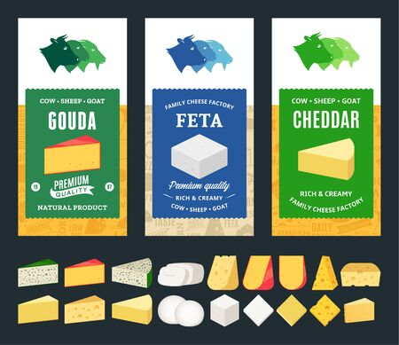 Vector cheese labels and packaging design templates. Different types of cheese detailed icons. Dairy products illustration for dairies, farms and groceries branding. Cow, sheep and goat icons.  イラスト・ベクター素材