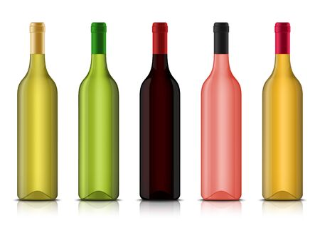 Set of vector realistic 3d wine blank bottle mockups isolated on a white background. Red, white and rose alcohol vine drinks