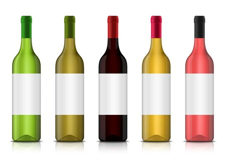 Set of vector realistic 3d wine bottle mockups with clean labels isolated on a white background. Red, white and rose alcohol vine drinks