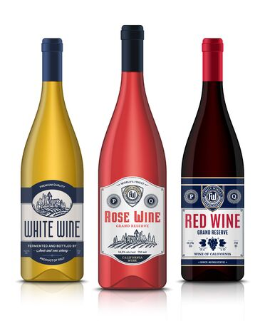 Vector vintage red, white and rose wine labels and wine bottle mockups. Winemaking business branding and identity design elements Illustration