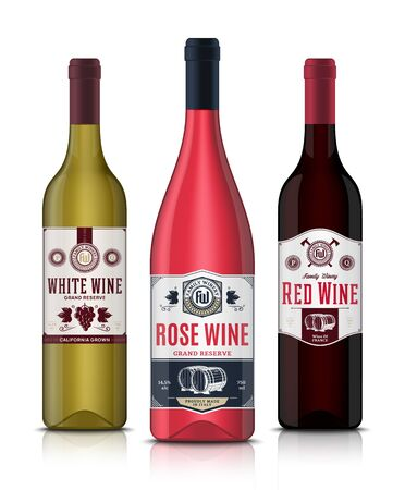 Vector vintage red, white and rose wine labels and wine bottle mockups. Winemaking business branding and identity design elements Ilustração