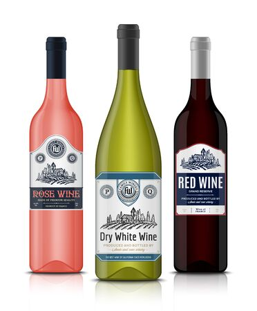Vector vintage red, white and rose wine labels and wine bottle mockups. Winemaking business branding and identity design elements Ilustrace