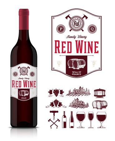 Vector vintage red wine label and wine bottle mockup. Winemaking business branding and identity icons and design elements Illustration