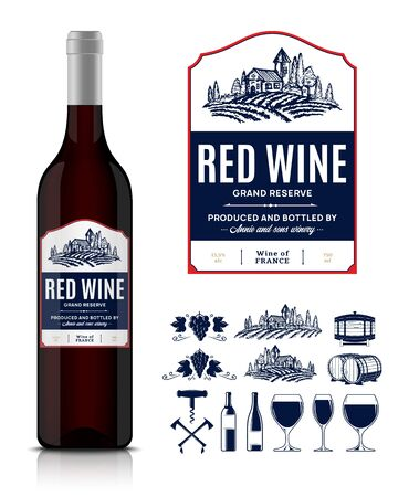 Vector vintage red wine label and wine bottle mockup. Winemaking business branding and identity icons and design elements Ilustrace