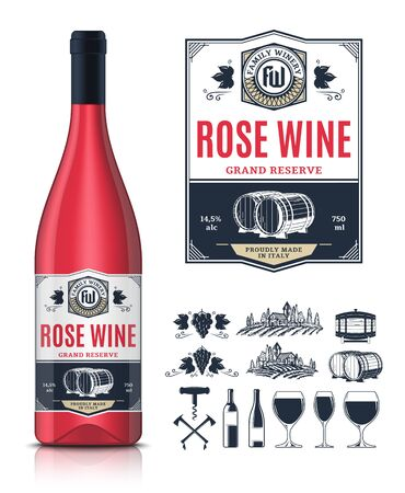 Vector vintage rose wine label and wine bottle mockup. Winemaking business branding and identity icons and design elements