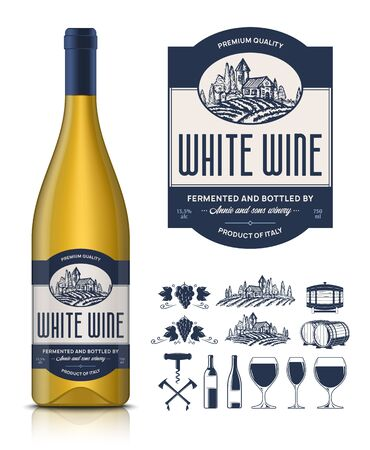 Vector vintage white wine label and wine bottle mockup. Winemaking business branding and identity icons and design elements