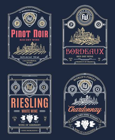 Vector vintage thin line style red and white wine labels and packaging design elements. Winemaking business branding and identity design elements Ilustrace