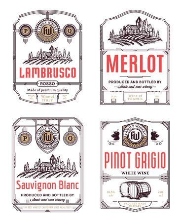 Vector vintage thin line style red and white wine labels and packaging design elements. Winemaking business branding and identity design elements Ilustracja