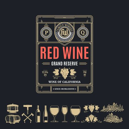 Vector vintage thin line style red wine label. Winemaking business branding and identity design elements.