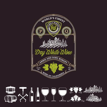 Vector vintage thin line style white wine label. Winemaking business branding and identity design elements. Ilustracja