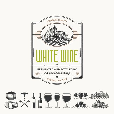 Vector vintage thin line style white wine label. Winemaking business branding and identity design elements. Illustration