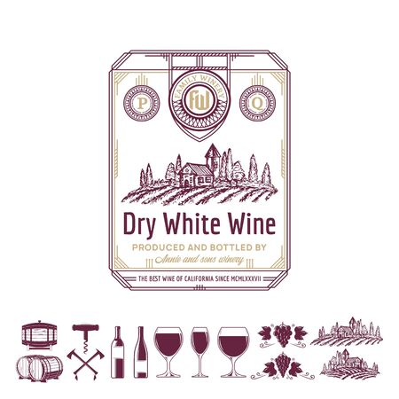 Vector vintage thin line style white wine label. Winemaking business branding and identity design elements. Ilustrace