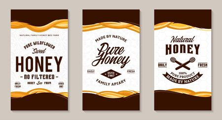 Honey labels and packaging design templates for apiary and beekeeping  products, branding and identity. Vector honey illustration and patterns