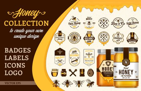 Vector honey design collection. Badges, labels, icons  and packaging design templates with bees, jars and dripping honey for apiary and beekeeping  products branding and identity