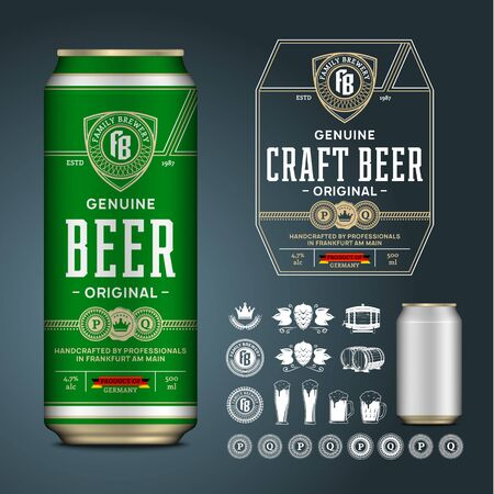 Vector craft beer label. Realistic aluminium can mockup. Brewing company branding and identity icons, badges, insignia and design elements
