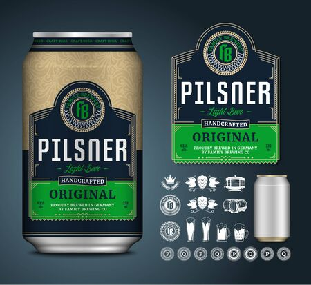 Vector light beer label. Realistic aluminium can mockup. Brewing company branding and identity icons, badges, insignia and design elements