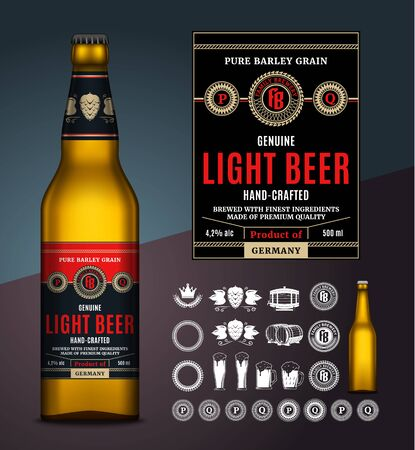 Vector light beer label. Realistic glass bottle mockup. Brewing company branding and identity icons, badges, insignia and design elements