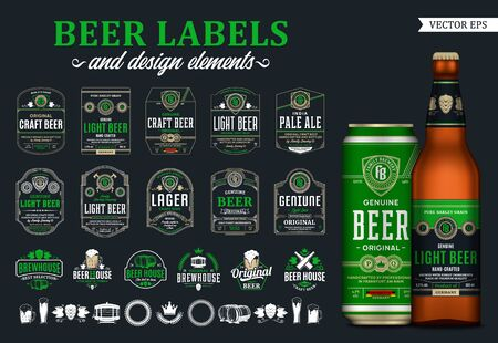Vector beer labels and design elements. Realistic glass bottle and aluminium can mockup. Brewing company branding and identity icons, badges, insignia and design elements Illusztráció