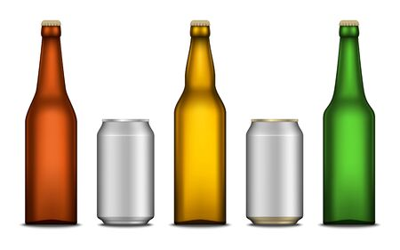 Set of vector realistic beer blank bottle and aluminium can mockups isolated on a white background