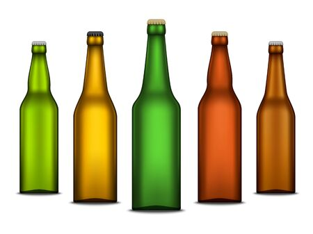 Set of vector realistic beer blank bottle mockups isolated on a white background