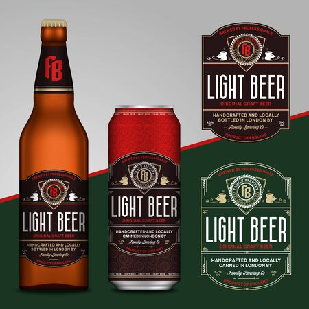 Vector brown and red beer labels. Realistic aluminum can and glass bottle mockups. Brewing company branding and identity design elements