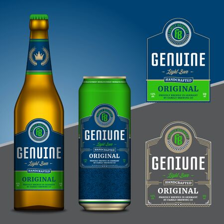 Vector blue and green beer labels. Realistic aluminum can and glass bottle mockups. Brewing company branding and identity design elements