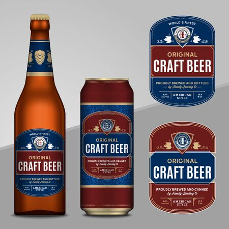 Vector blue and brown beer labels. Realistic aluminum can and glass bottle mockups. Brewing company branding and identity design elements