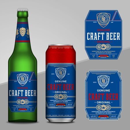 Vector blue and red beer labels. Realistic aluminum can and glass bottle mockups. Brewing company branding and identity design elements