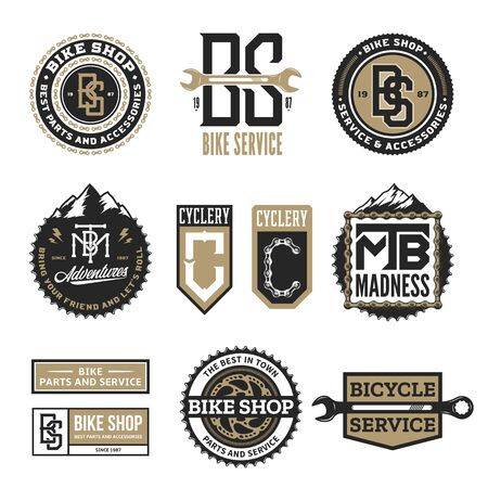 Set of vector bike shop, bicycle service, mountain biking clubs and adventures  badges and icons isolated on a white background