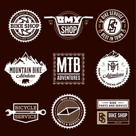 Set of vector bike shop, bicycle service, mountain biking clubs and adventures badges and icons isolated on a brown background