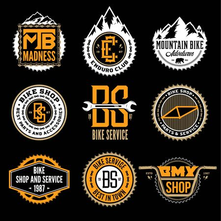 Set of vector bike shop, bicycle service, mountain biking clubs and adventures badges and icons isolated on a black background