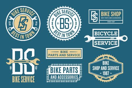 Set of vector bike service, bicycle shop and parts  badges and icons Ilustrace