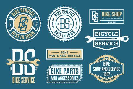 Set of vector bike service, bicycle shop and parts  badges and icons Illusztráció