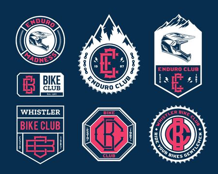 Vector enduro mountain biking adventures, parks, clubs  badges and icons