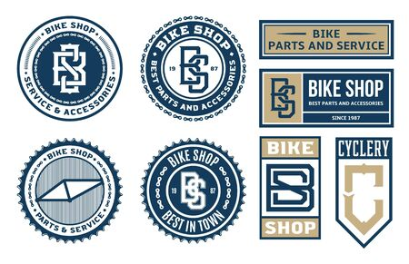 Set of vector bike shop, bicycle part and service   badges and icons isolated on a white background Illusztráció