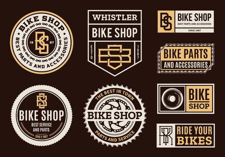 Set of vector bike shop, bicycle part and service   badges and icons isolated on a brown background