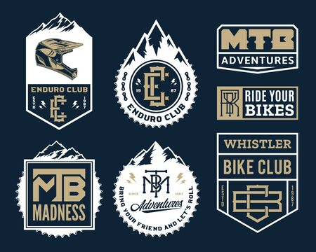 Vector mountain biking adventures, parks, clubs emblems, badges and icons Ilustrace