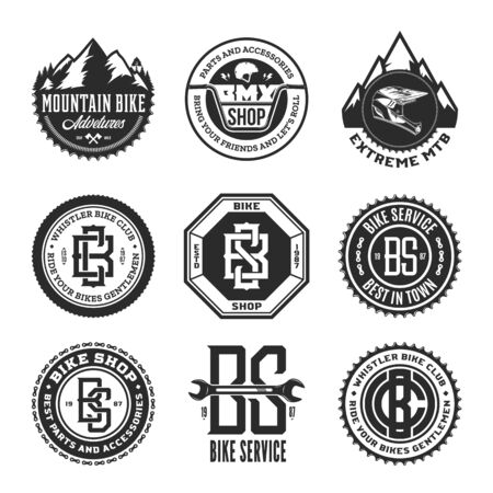 Set of vector bike shop, bicycle service, mountain biking clubs and adventures   badges and icons