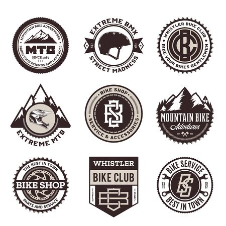 Set of vector bike shop, bicycle service, mountain biking clubs and adventures badges and icons Illusztráció