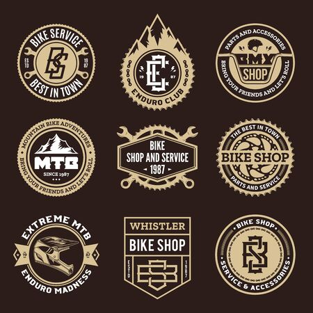 Set of vector bike shop, bicycle service, mountain biking clubs and adventures  badges and icons Ilustração